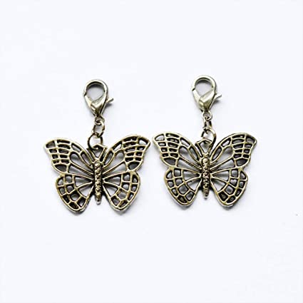 Antiqued Charm Clothes Purse Luggage Backpack Zipper Pull Butterfly Butterflies