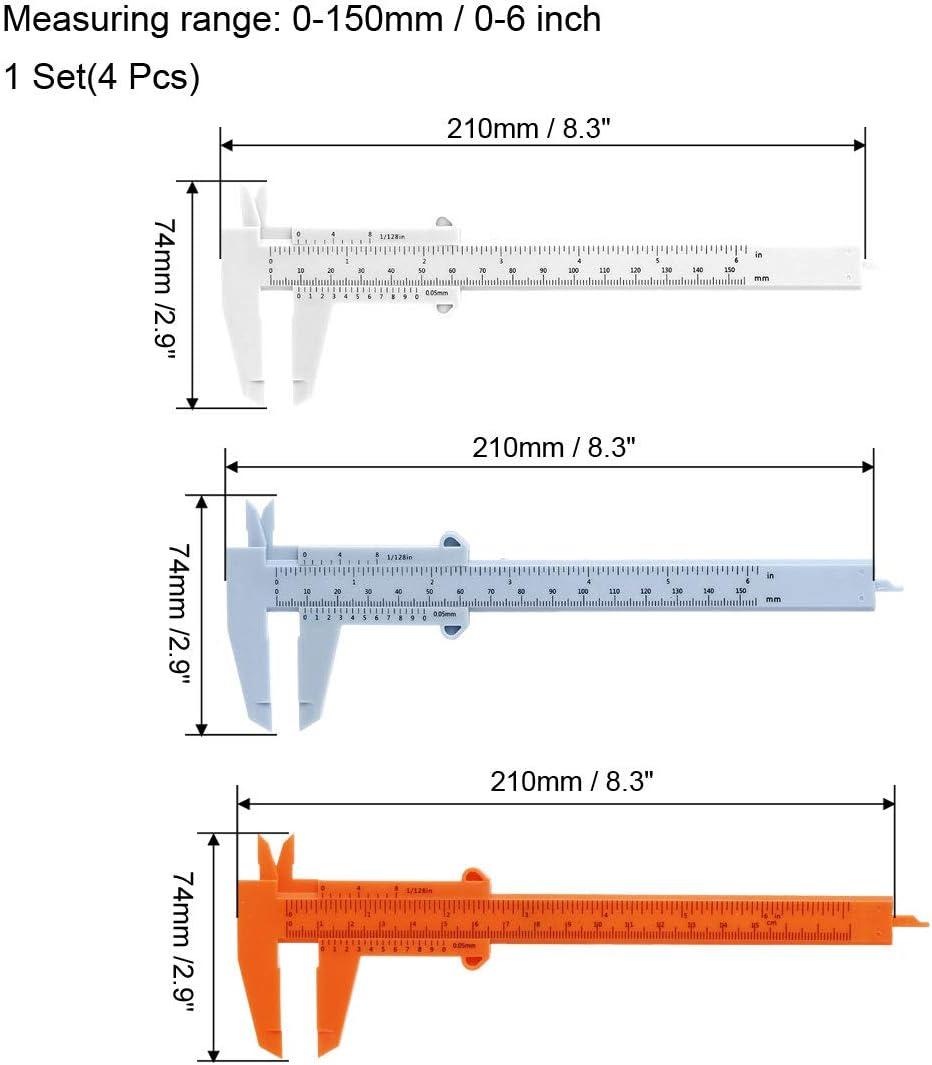 uxcell Vernier Caliper 150mm 6 Inch Metric Plastic Measuring Tool for Precision Measurements Outside Inside Depth Random Color 1 Set