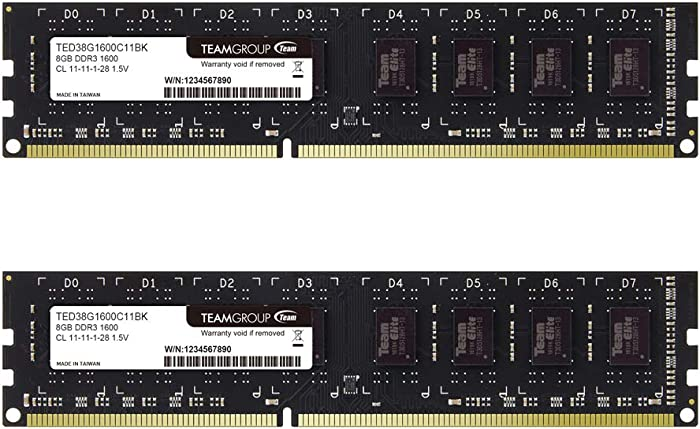 TEAMGROUP Elite DDR3 16GB Kit (2 x 8GB) 1600MHz (PC3-12800) CL11 Unbuffered Non-ECC 1.5V UDIMM 240 Pin PC Computer Desktop Memory Module Ram Upgrade - TED316G1600C11DC01-16GB Kit (2 x 8GB)