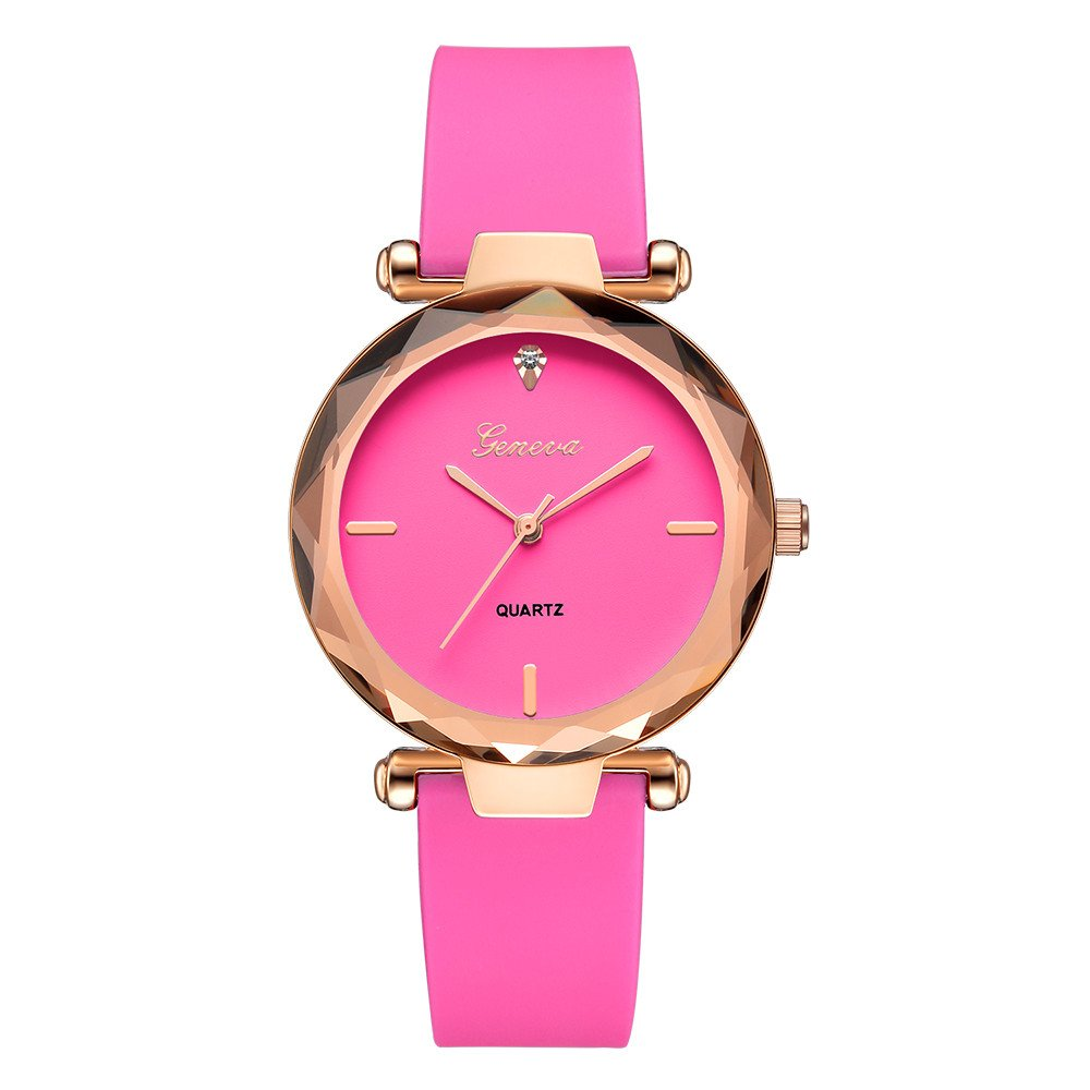 vmree Woman Fashion Candy Color Silicone Strap Wrist Watch Rounded Quartz Dress Watch Ideal Gift (Hot Pink)
