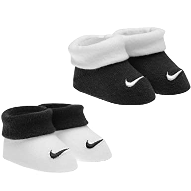 Nike Infant Booties 2 Pairs Babies Socks Newborn 0-6 Months Black White 2a7ace386fe
