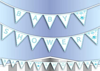 3 Meter Blue Baby Boy Shower Bunting Banner Garland Party