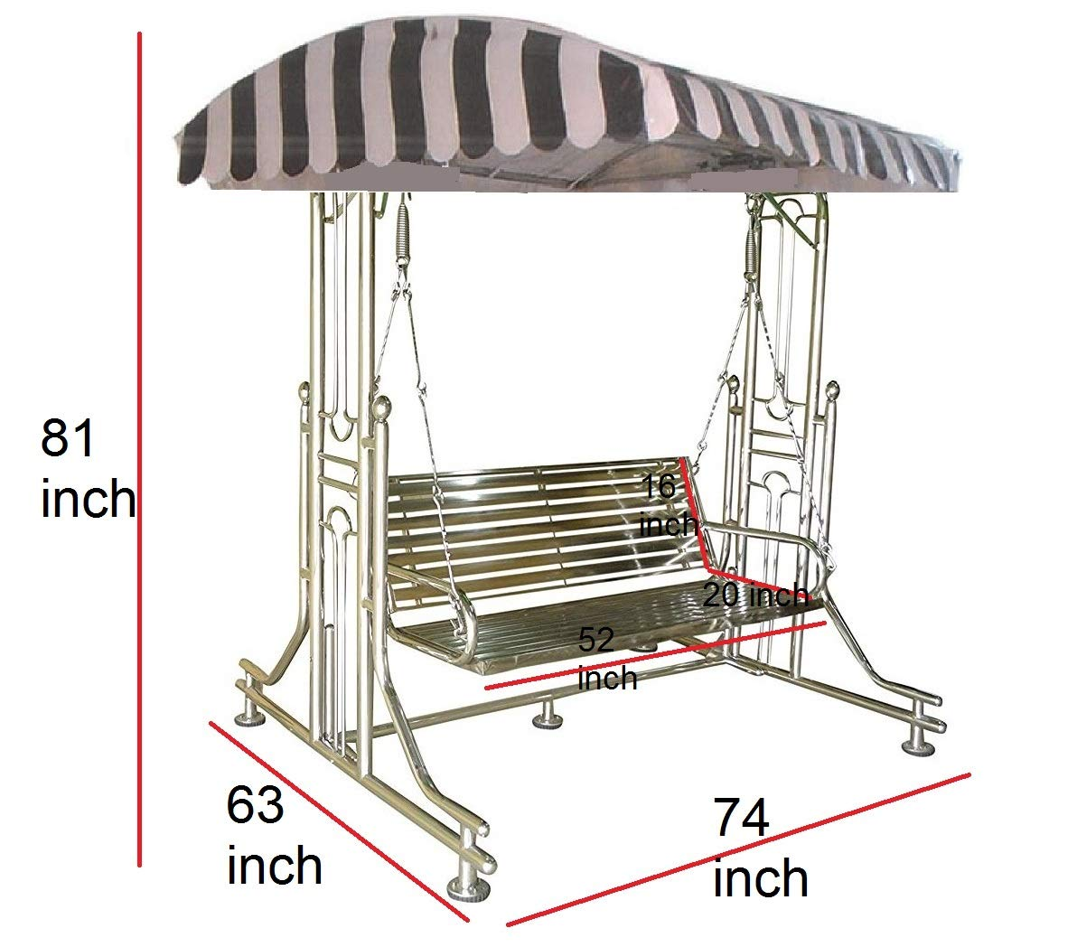 Kaushalendra Stainless Steel Swing 6 Person Jhula for Home Outdoor