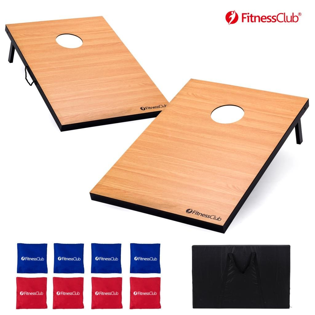 Fitnessclub Tailgate Size Boards CornHole Set-3ft x 2ft Tournament Bean Bag Toss with 8 Bean Bags & Carrying Case