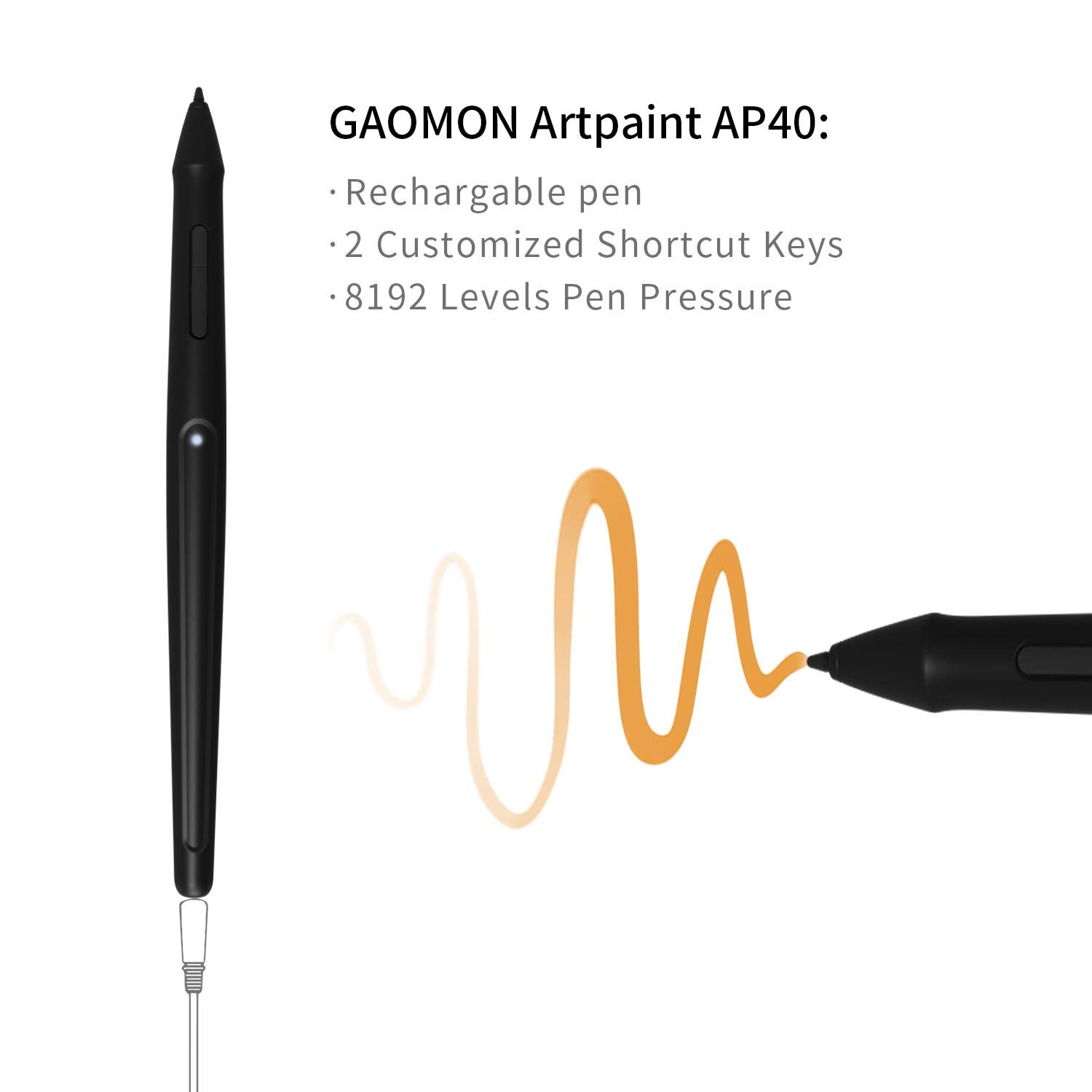GAOMON PD1560 15 6 Inch IPS HD Screen Drawing Monitor Pen Display with 10  Shortcut Keys and 8192 Levels Wireless Digital Stylus