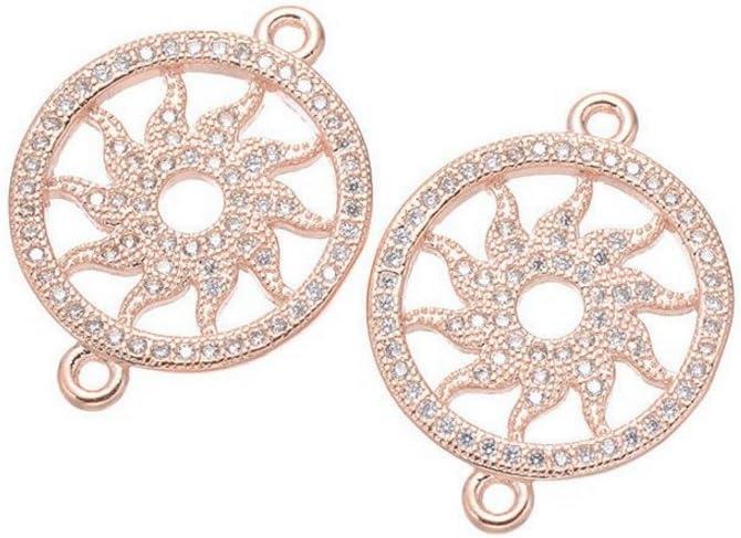 jennysun2010 Clear Zircon Gemstones Cubic Zirconia Pave Bracelet Connector Charm Beads Cross Gold 1 Piece per Bag for Bracelet Necklace Earrings Jewelry Making Crafts Design