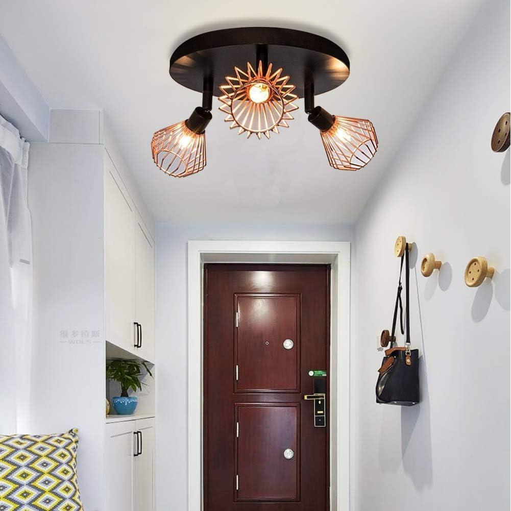 Plafonnier Vintage R/étro Moderne 4 Lumi/ères Lustre Noir Semi-Encastrable Plafonnier pour Salon Chambre et Salle /à manger