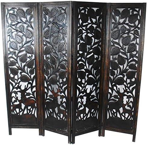 Topdecorishing - Separador de Madera para habitación de 4 Paneles, Tallado Indio, 180 x 60 x 20 cm, Color marrón Oscuro: Amazon.es: Hogar