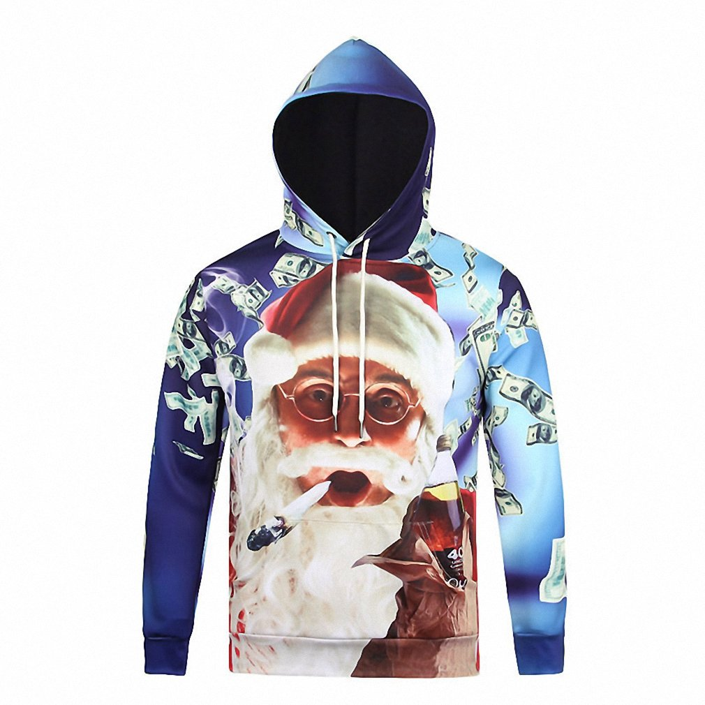 Crochi Harajuku Sweatshirt With Hooded 3D Print Christmas Hoodies Dollar/Santa Claus With Christmas Outerwear Funny Tops at Amazon Womens Clothing store:
