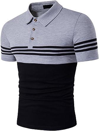 Santfe Moda Camisetas Polos Camisas con Rayas para Hombre (XXL, Negro): Amazon.es: Ropa y accesorios