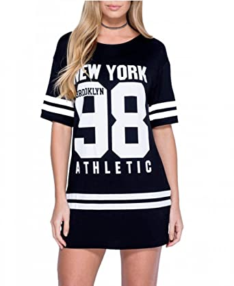 The Celebrity Fashion Womens New York American Varsity Baseball Oversized  Top Plus Size Baggy T Shirt a5268b0c6