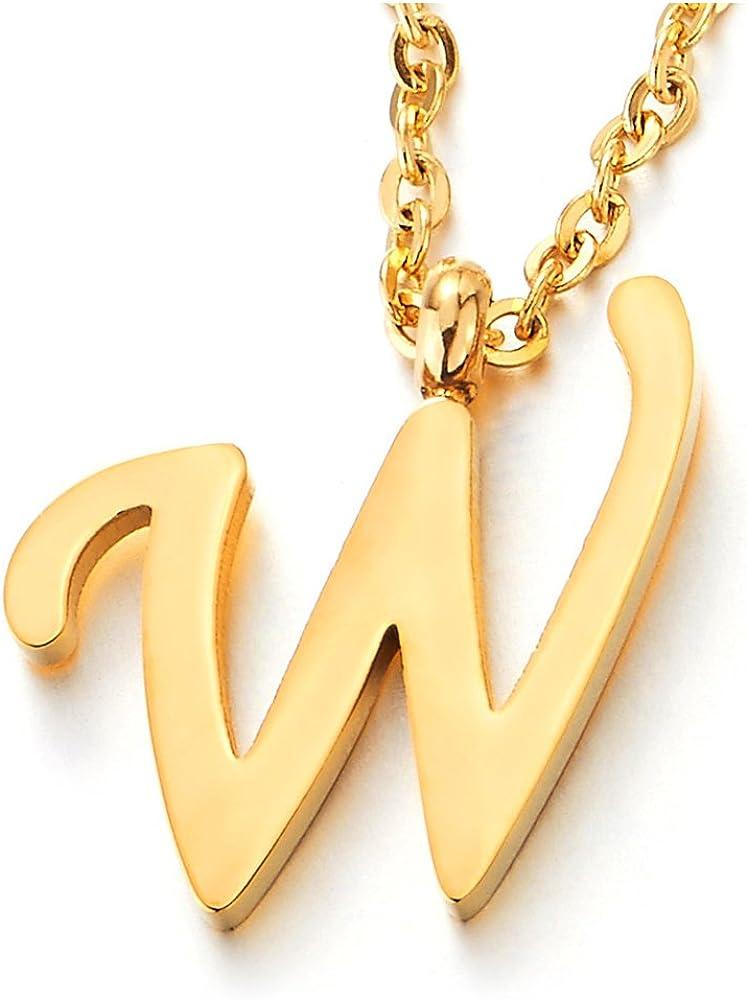 Couleur Or COOLSTEELANDBEYOND Nom Initial Lettre Alphab/étique A-Z Pendentif Collier pour Femmes Homme Acier 50cm Corde Cha/îne