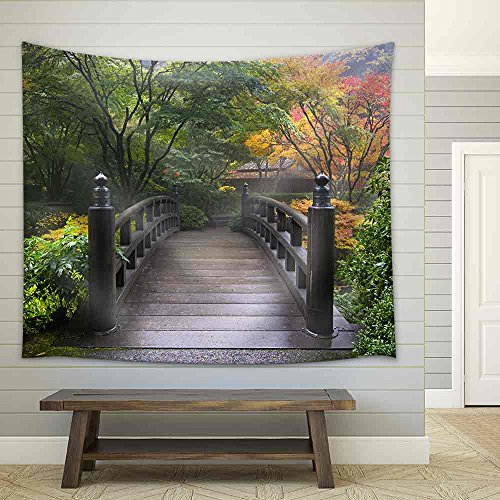 Wooden Bridge at Portland Japanese Garden Oregon in Autumn Fabric Wall Tapestry