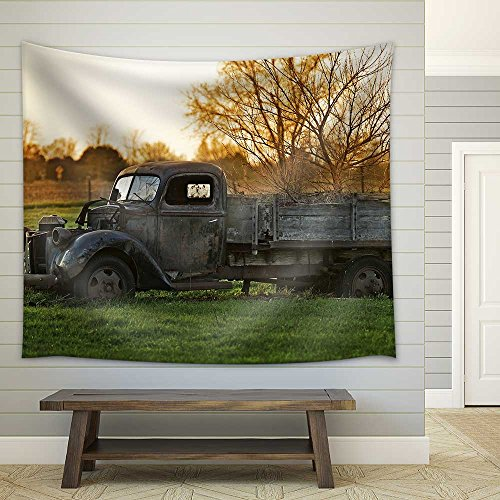 (wall26 - Rustic Old Pickup Truck on The Backyard. Abandoned Old Truck - Fabric Wall Tapestry Home Decor - 51x60 inches )