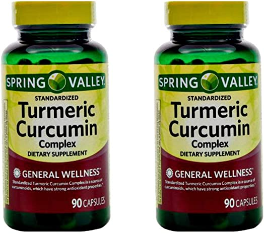 Spring Valley Standerdized Complex Turmeric Curcumin Dietary Supplement Capsules, 500 mg, 90 count, 2 pk