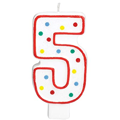 #5 Polka Dots Birthday Candle | Multicolor | Party Supply: Birthday Candles: Kitchen & Dining