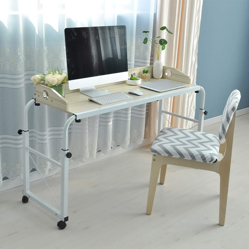 Adjustable Overbed Table, VECDUO Height Width Adjustable Laptop Cart, Simple Household Movable Lazy Computer Desk with Wheel