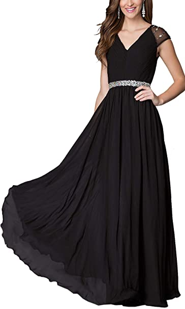 Bridesmaid Dresses Long Chiffon Prom Party Ballgown Maxi Evening Gown Uk