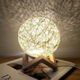 Romantic Night Light Creative INS Wind Starry Table lamp Bedroom Bedside lamp Fantasy Rattan Ball Moon Light (Light Yellow, Button Switch) For Sale