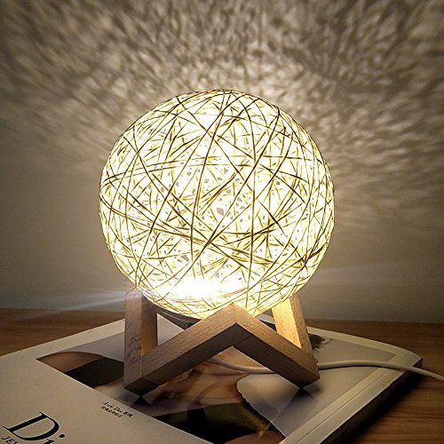Romantic Night Light Creative INS Wind Starry Table lamp Bedroom Bedside lamp Fantasy Rattan Ball Moon Light (Light Yellow, Button Switch) (Shade Lamp Spinning)