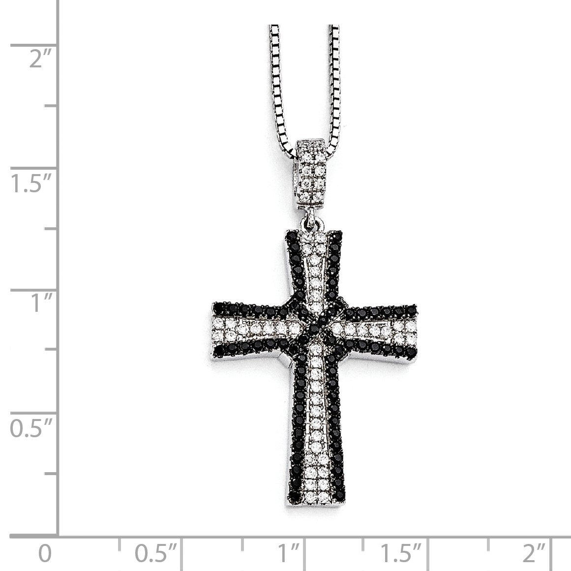 Sterling Silver Black /& White CZ Brilliant Embers Polished Cross Necklace 37x21mm 18 Inches
