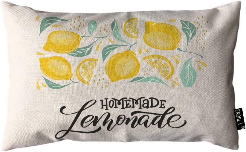 EKOBLA Throw Pillow Cover Lemon Homemade Lemonade Hand Drawn Letter Quote Nature Rectangular Throw Pillow Covers for Couch Sofa Home Decor Cotton Linen 12x20 Inch
