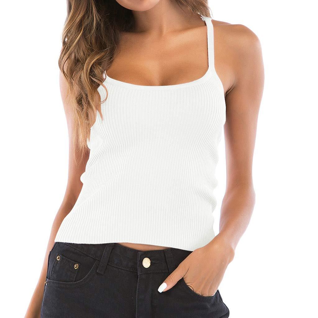 FarJing Women's Vest Back Crochet Butterfly Solid Color Knit Strapless Sleeveless Tank Top(M,White