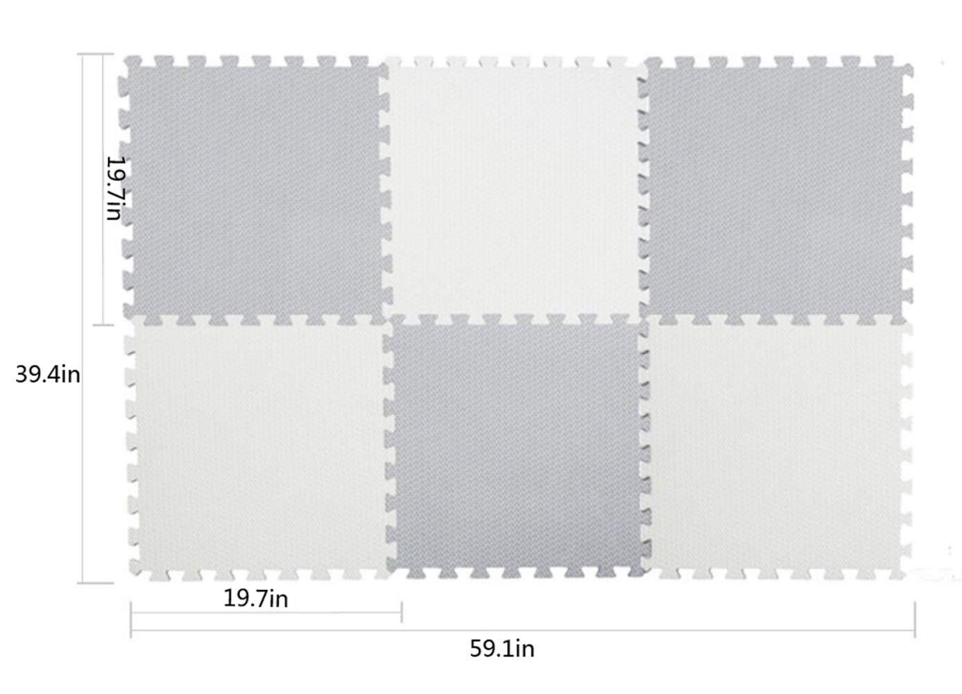 QXMEI Stitching High Elastic Foam Pad Puzzle Mat Children's Mat Crawling Mat Baby Bedroom Slip,Beige+Gray by QXMEI (Image #1)
