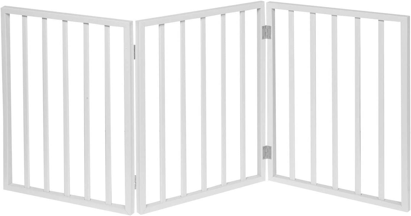 HOME DISTRICT Freestanding Pet Gate, Solid Wood 3-Panel Tri-Fold & -PanelFolding Dog Gate Dog Fence for Doorways Stairs Decorative Pet Barrier