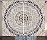 Ambesonne Mandala Decor Curtains, Retro East Back with Swirled Ethnic Harmonic Cosmic Lotus Yoga Boho Artwork, Living Room Bedroom Window Drapes 2 Panel Set, 108W X 96L Inches, Beige Blue Review
