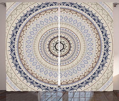 Ambesonne Mandala Decor Curtains, Retro East Back with Swirled Ethnic Harmonic Cosmic Lotus Yoga Boho Artwork, Living Room Bedroom Window Drapes 2 Panel Set, 108W X 96L Inches, Beige Blue