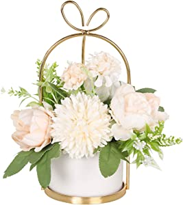 Hobyhoon Artificial Flower with Vase Fake White Silk Flower Arrangements in Ceramics Pot Faux Flower Ball Table Centerpiece Decor for Home Wedding, Party, Living Room, Desk Decoration