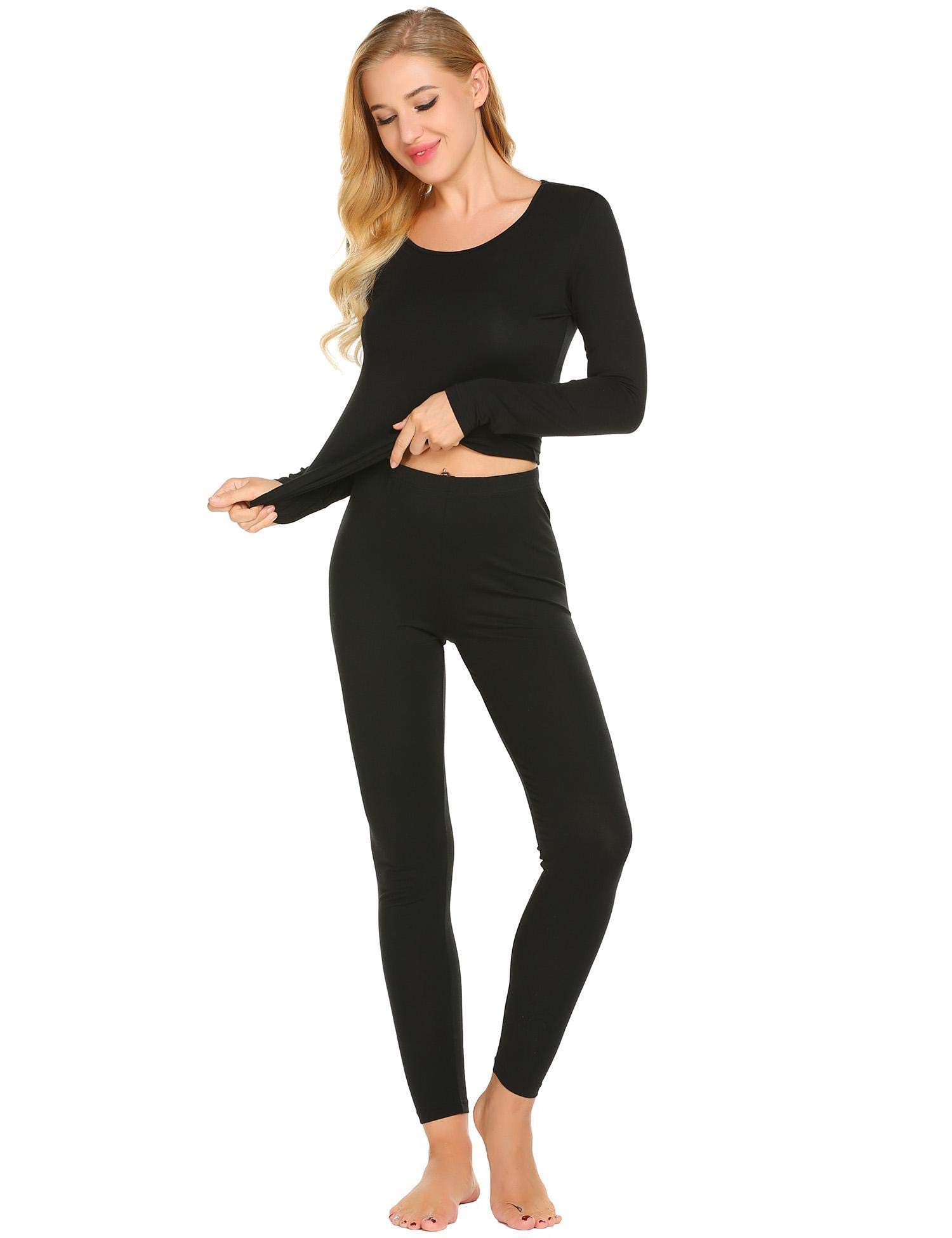 Langle Women's Autumn Comfort Sleepwear Long Sleeve Top and Pants Thermal Set (Black, Medium)
