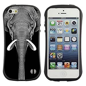 High quality Case for Apple iPhone 5 5S / Cool Black & White Elephant