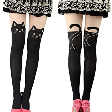 07db19ef8 Kitten Print Socks CAT Tail Tattoo Tights Pantyhose Stockings Underwear   Amazon.co.uk  Sports   Outdoors