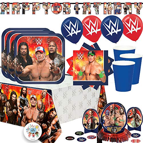 Ultimate WWE Wrestling Birthday Party Supplies Pack With Decorations For 16 Guests With Plates, Cups, Napkins, Tablecover, Balloons, Add An Age Birthday Banner, Table Decorating Kit, and Exclusive Pin for $<!--$39.99-->