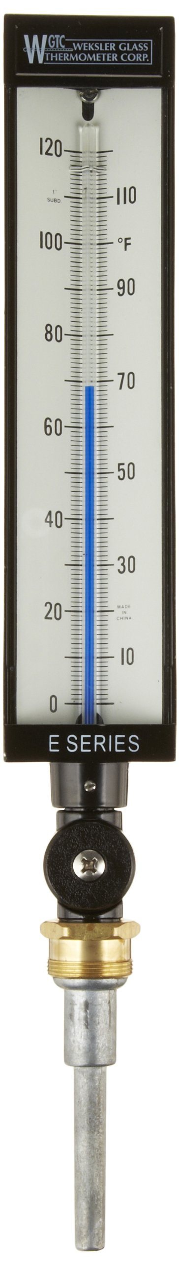 PIC Gauge AS5H9EA-C 9'' Scale, 3-1/2'' Stem Length, 0/120° F Temperature Range Eco-Red Spirit Filled Industrial Thermometer with Aluminum Case, and Adjustable Angle