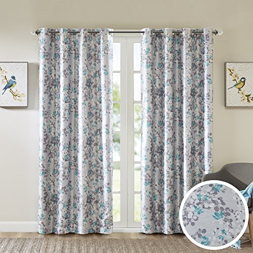 Comfort Spaces Room Darkening Curtains for Bedroom - Printed Floral Sumi-e Window Curtains Pair - Teal - 42x84 Inch Panel - Energy Saving Black out Window Curtain - Grommet Top - Include 2 Panels