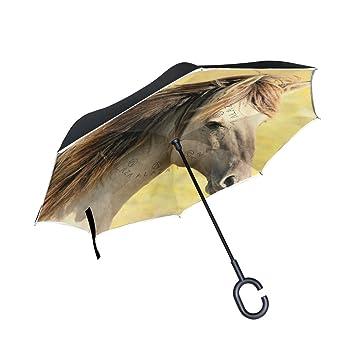 ISAOA Paraguas grande invertido paraguas resistente al viento doble capa construcción reversible plegable paraguas para coche