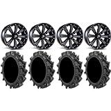 Bundle - 9 Items: MSA Black Kore 16' ATV Wheels 30' MotoHavok Tires [4x156 Bolt Pattern 3/8x24 Lug Kit]