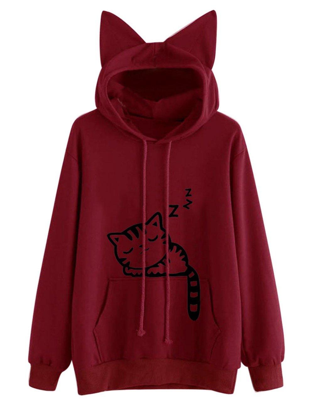 KEYEE Cute Cat Sweatshirt, Women Teen Girls Cotton Hoodie Sweater Pullover Tops with Pocket (XL, Red)
