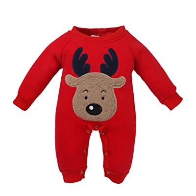 d16b487d5f3 Alixyz Newborn Baby Christmas Clothes Deer Print Romper Jumpsuit Pajamas  Outfits