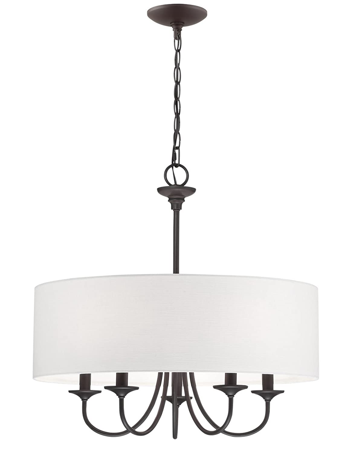 Kira Home Quinn 21 Traditional 5-Light Chandelier White Linen Drum Shade, Oil-Rubbed Bronze Finish