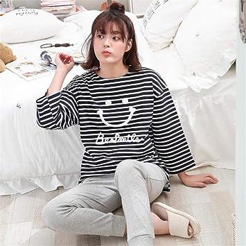 XLNNSY Pijamas de algodón de Manga Larga para Mujer de Primavera y otoño, Servicio a