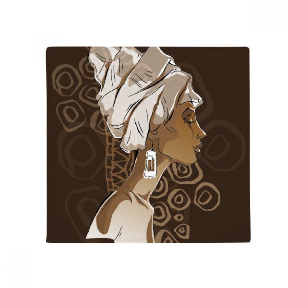 DIYthinker African Black Women Aboriginal Headdress Art Anti-Slip Floor Pet Mat Square Home Kitchen Door 80Cm Gift