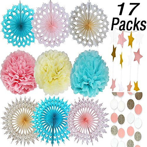 [Tissue Paper Pom Poms Flower,Tissue Paper Fan,Paper Circle Garland,Paper Star Garland For Wedding,Birthday Party,Baby Shower,Festival Items,Party Decorations,Party Supplies] (Party Decoration Items)