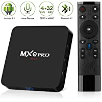 Android 8.1 TV Box,2018 Newest Leelbox MXQ PRO max 4GB RAM 32GB ROM Quad-Core Cortex-A53 RK3328 64 Bits Built-in WiFi BT 4.1 Support 4K 3D Ultra HD HDMI H.265 with 2.4G Voice Remote
