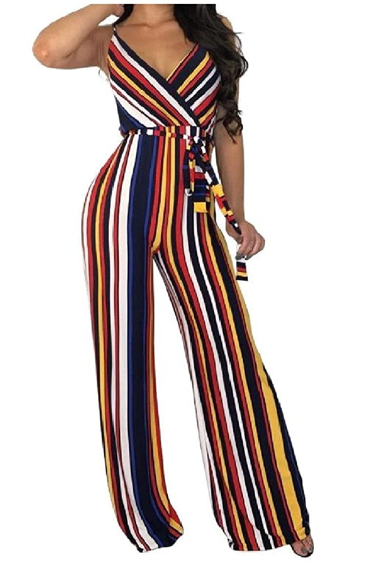 Sayah Womens High Waisted V Neck Colorful Ribbon Silm-fit-Flared Jumpsuit Trousers