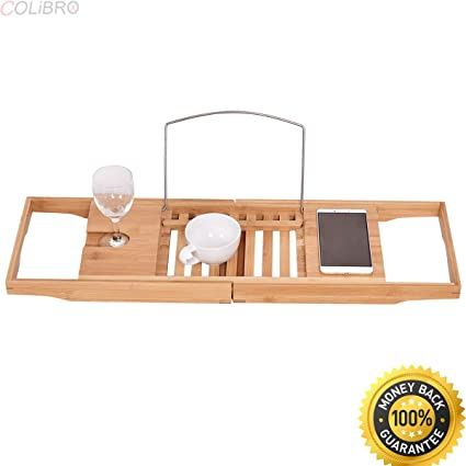 Amazon.com: COLIBROX--Bamboo Bathtub Rack Caddy Shower Book Tray ...