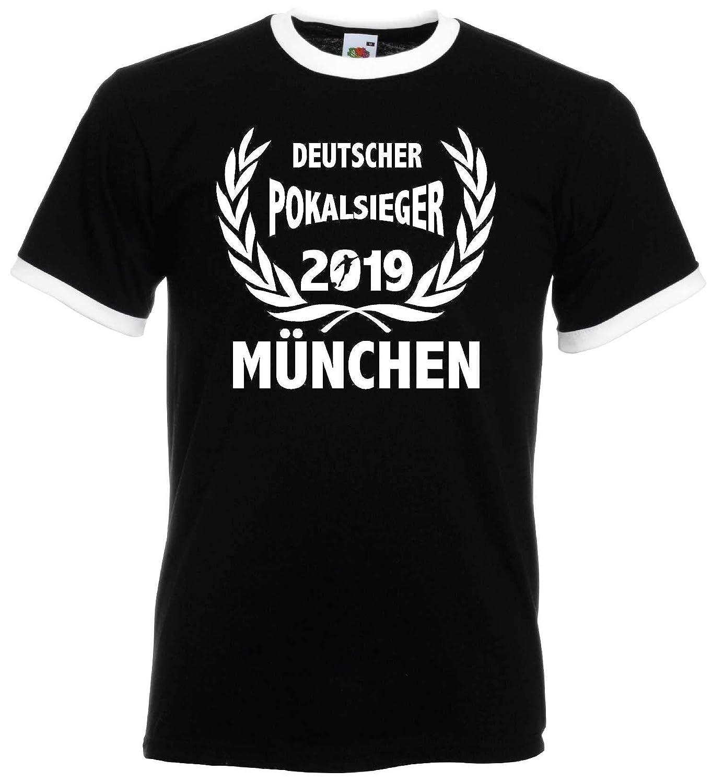 M/ÜNCHEN Herren Retro T-Shirt Pokalsieger 2019 Lorbeerkranz Finale Berlin Ultras